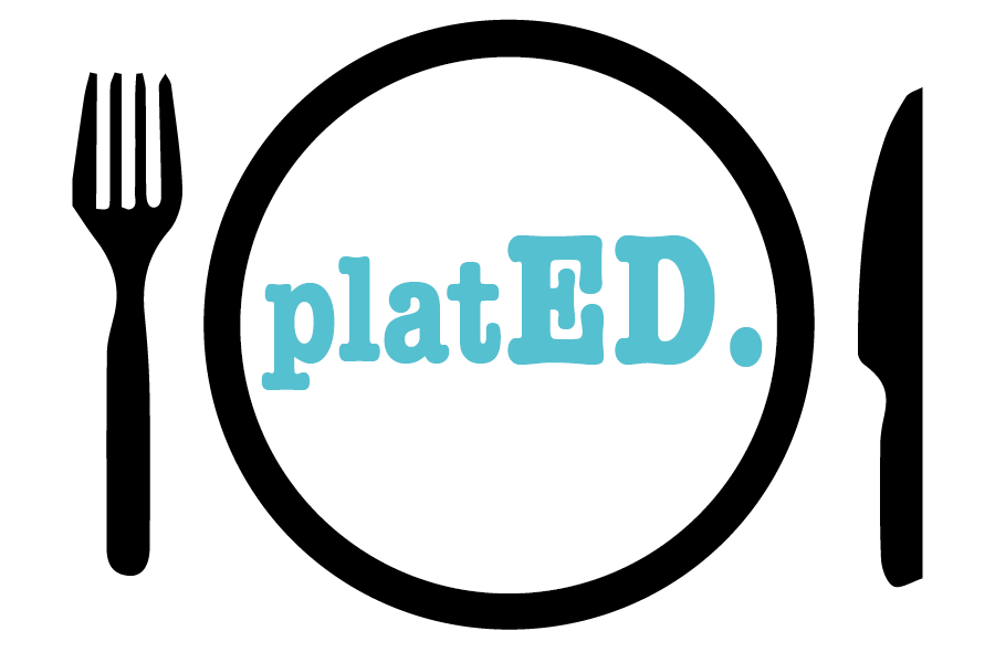 platED logo featuring a fork, plate & knife