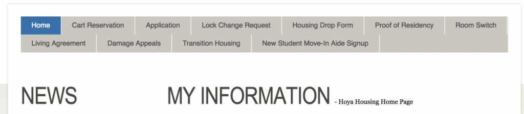 screenshot of the Hoya Housing menu bar